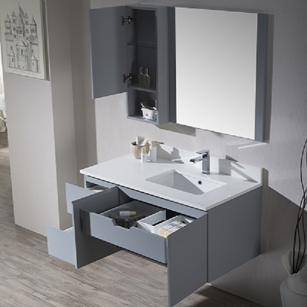 Monaco Wall Hung Right Basin Base Matte White Vanity With Mirror