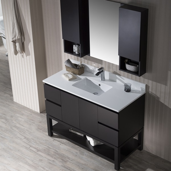 Monaco Wall Hung Left Basin Base Matte White Vanity